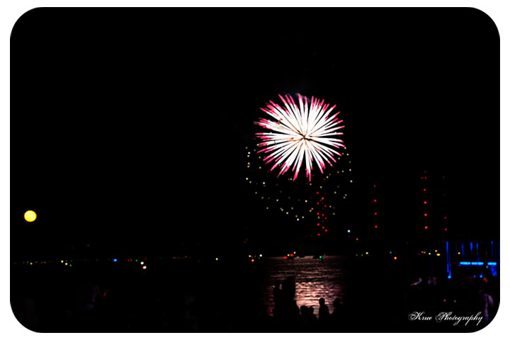view of fireworks from park
