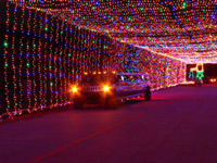 the tunnel of lights at the Prairie Lights Christmas show