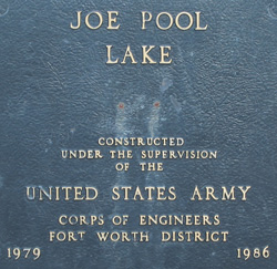 US Corp of Engineers Joe Pool Lake plaque