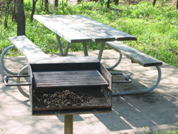 a picnic table and barbeque grill