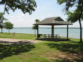 a picnic shelter overlooking Joe Pool Lake